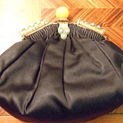 Vintage Black Satin Purse with Turquoise & Silver Clasp