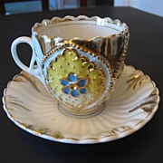 Victorian Gilded Flower Design Saucer and Cup