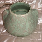 Vintage Drip Glaze Pottery Green Double Handle Mint