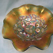 "Carnival Glass Bowl; ""Three Fruits Medallion""; Emerald Green"