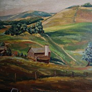 Glyn G. Jones Oil Painting '41 Farm Landscape