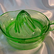 Green Depression Glass Juice Squeezer - Mint!