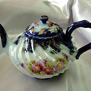 Antique Hand Painted Tea Pot w/ Mums & Petunias