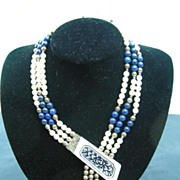 "Vintage ivory, lapis and sterling silver necklace signed ""Ronjon"""