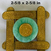 Old Oriental Brass Green Glass Belt Buckle