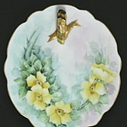 Beeautiful Floral Hand Painted Porcealin Plate Gold Handle