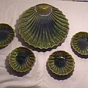 McCoy Pottery Oyster Shell Serving Platter & 4 Matching Small Plates