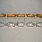 Set of 5 Gold Encrusted Tumblers/Juices, Clear Optic