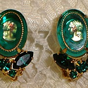 Vintage Clip on Earrings with Green Glass Prong Set Stones and Cameo