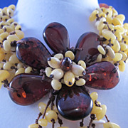 Antique Baltic Amber Necklace Hand Tied Flower Deco 20s ? Russian ? European ?