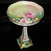 Limoges France Gold Rose Floral Dish w/ Pedestal Base Elite Works