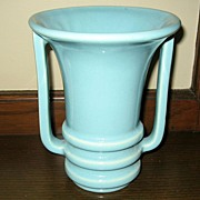 Art Deco Handled Ceramic Blue Vase