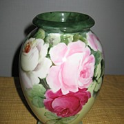 Gorgeous Handpainted Bavaria Vase with Roses