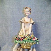 Lady with Flower Basket, Figurine, Signed, Beautiful