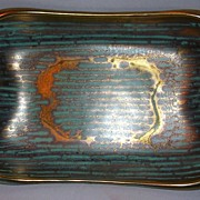 Beautiful Gold & Aqua Glazed Serving Dish
