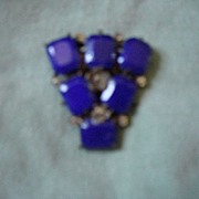 Wonderful antique dress clip, royal blue  lapis chaton stones