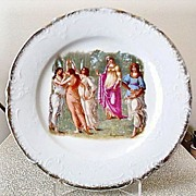 "7"" Porcelain Plate w/ Angelica Kaufmann Neo-Classical Illustration, Unidentified Mark"