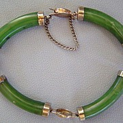 Vintage Green Jade Stone Asian Bracelet
