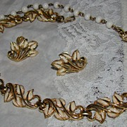 Coro Goldtone & White Enamel Leaf Necklace Demi