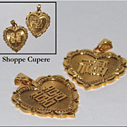 Vintage Asian Heart Pendants � Translation? Chinese?