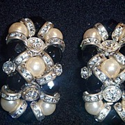 Sensational, Faux Pearl, and Glittering Rhinestone Earrings