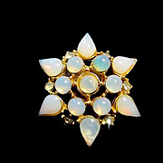 Vintage Milky Blue Glass Cabochon Rhinestone Star Pin Brooch