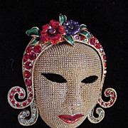 Vintage mask mesh brooch with enamel and multi colored rhinestones very unusual