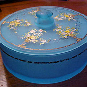 Hand painted blue glass vanity dish