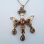 St Esprit Pendant With Chain, Enamel and Topaz
