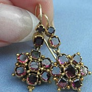 Garnet Cluster Earrings, Victorian