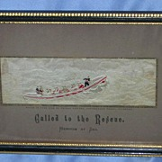 "Stevengraph, Silk Picture, ""Called to the Rescue,"" Victorian"