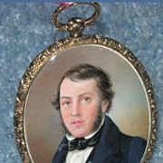 Portrait Miniature ,Watercolor of Gentleman, Pendant, Early Victorian