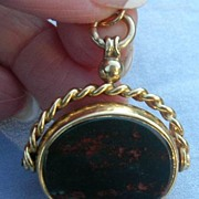 9 K Watch Fob/Seal, Swivel, Bloodstone and Carnelian