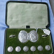Silver Buttons and Buckle, Boxed Set, Edwardian