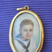 Portrait Miniature Watercolor, Double Miniature/ 18 carat Pendant Frame, Edwardian