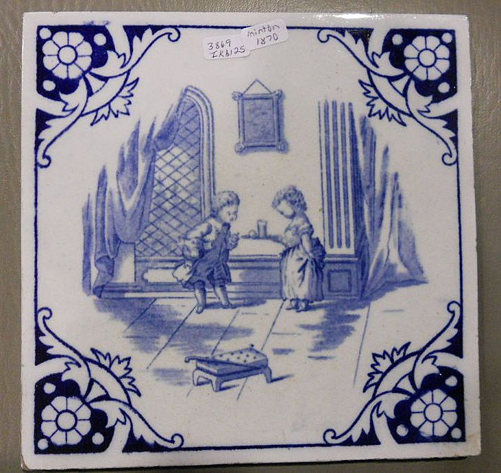 Minton Ceramic Tile, Victorian, Children's Tea Party