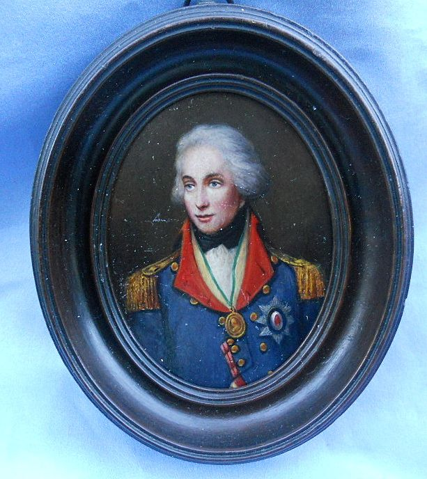 Portrait Miniature of Nelson, Oil on Wood, Victorian