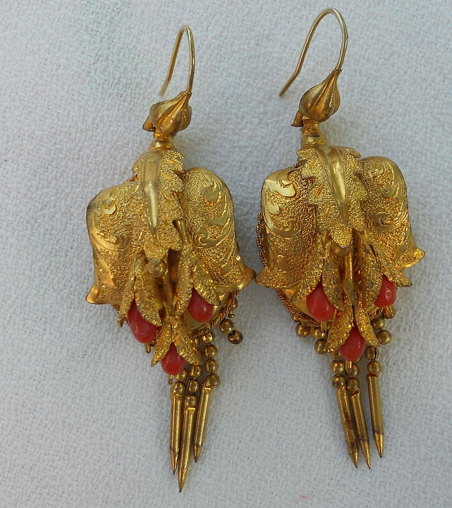 Victorian Earrings, Pinch and Coralene