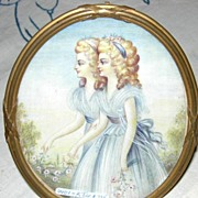 Portrait Miniature on Ivory, Twins, French, Victorian