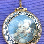 Portrait Miniature, Mother and Child, Watercolor on Ivory, Georgian, Pendant Frame