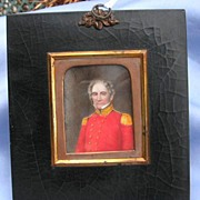 Portrait Miniature of Soldier (Redcoat) on Vellum, Georgian