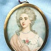 Portrait Miniature on Ivory of Lady, CA 1770