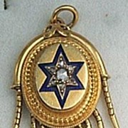 Mid Victorian Diamond and Blue Enamel Locket
