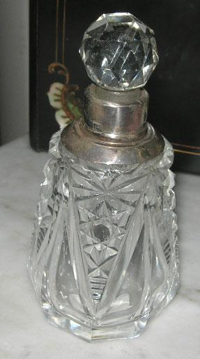 Perfume, Silver Neck, Edwardian, Cut Glass