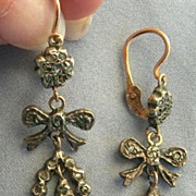 Rose Diamond Earrings, Bow Design, Victorian