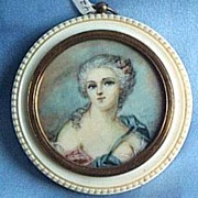 Portrait Miniature , French Lady, Victorian