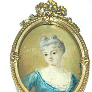 Portrait Miniature of Lady, Watercolor on Ivory, Georgian