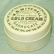 H O Mitchell Cold Cream Printed Stoneware Pot and Lid