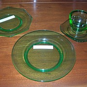 Decagon Blank, Green, Cambridge Glass, 4 Pieces