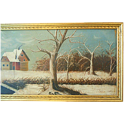 Primitive winter farm scene oil painting